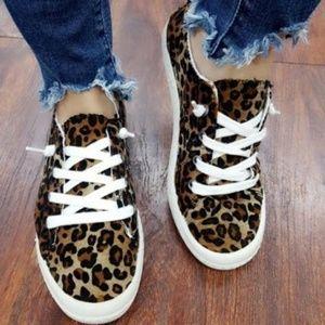 Shoes - Leopard Animal Print Super Soft  Slip-On Sneaker